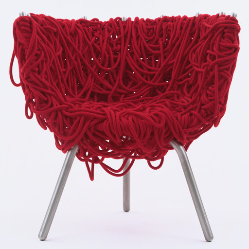 Fernando and Humberto Campana. *Vermelha Chair*. 1993. Manufacturer: Edra Mazzei, Pisa, Italy. Iron with epoxy coating, aluminum, and cord, 31 × 29 1/8 × 22 3/4ʺ (78.7 × 74 × 57.8 cm). Gift of Patricia Phelps de Cisneros. © 2016 Fernando Campana and Humberto Campana