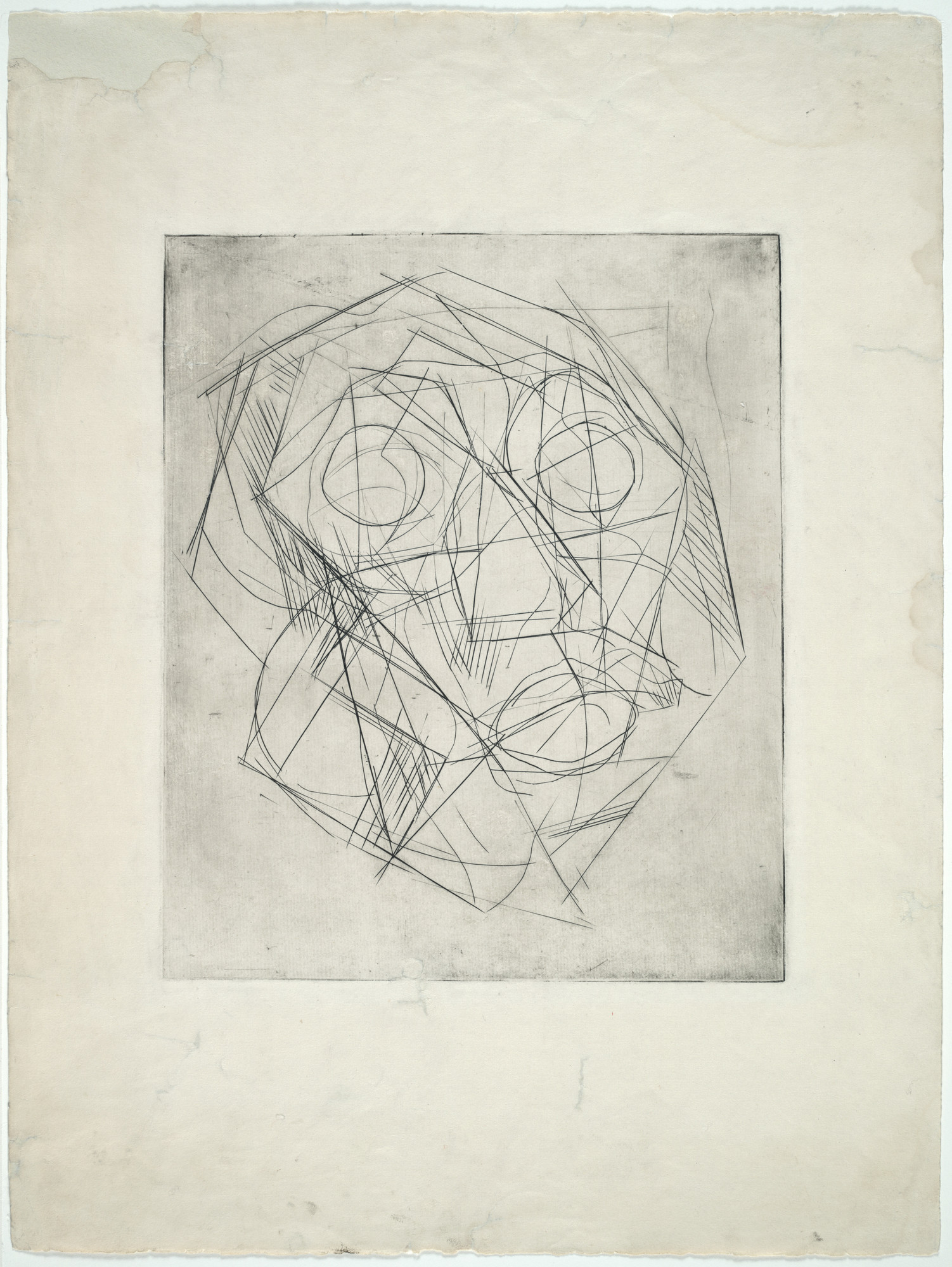 Alberto Giacometti. Cubist Head. 1933. Engraving, plate: 12 1/16 × 10ʺ (30.6 × 25.4 cm); sheet: 20 × 14 15/16ʺ (50.8 × 38 cm). Publisher: unpublished. Printer: the artist at Atelier 17, Paris. Edition: unique. Gift of Mr. Stanley W. Hayter. © 2016 Artists Rights Society (ARS), New York / ADAGP, Paris