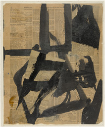 Franz Kline. *Untitled II.* c. 1952. Ink and oil on cut-and-pasted telephone book pages on paper on board, 11 × 9ʺ (28.1 × 23 cm). Purchase. © 2016 The Franz Kline Estate / Artists Rights Society (ARS), New York. Photo: John Wronn