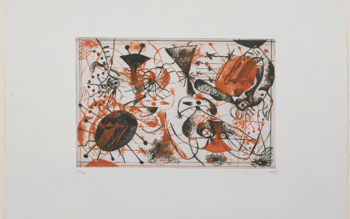 Joan Miró. Plate 8 from *Black and Red Series (Série noire et rouge).* 1938. Etching, 6 5/8 × 10 1/8ʺ (16.8 × 26.8 cm). Purchased with the Frances Keech Fund and funds given by Agnes Gund and Daniel Shapiro, Gilbert Kaplan, Jeanne C. Thayer, Reba and Dave Williams, Ann and Lee Fensterstock, Linda Barth Goldstein, Walter Bareiss, Mrs. Melville Wakeman Hall, Emily Rauh Pulitzer, and Mr. and Mrs. Herbert D. Schimmel. © 2016 Successió Miró / Artists Rights Society (ARS), New York / ADAGP, Paris