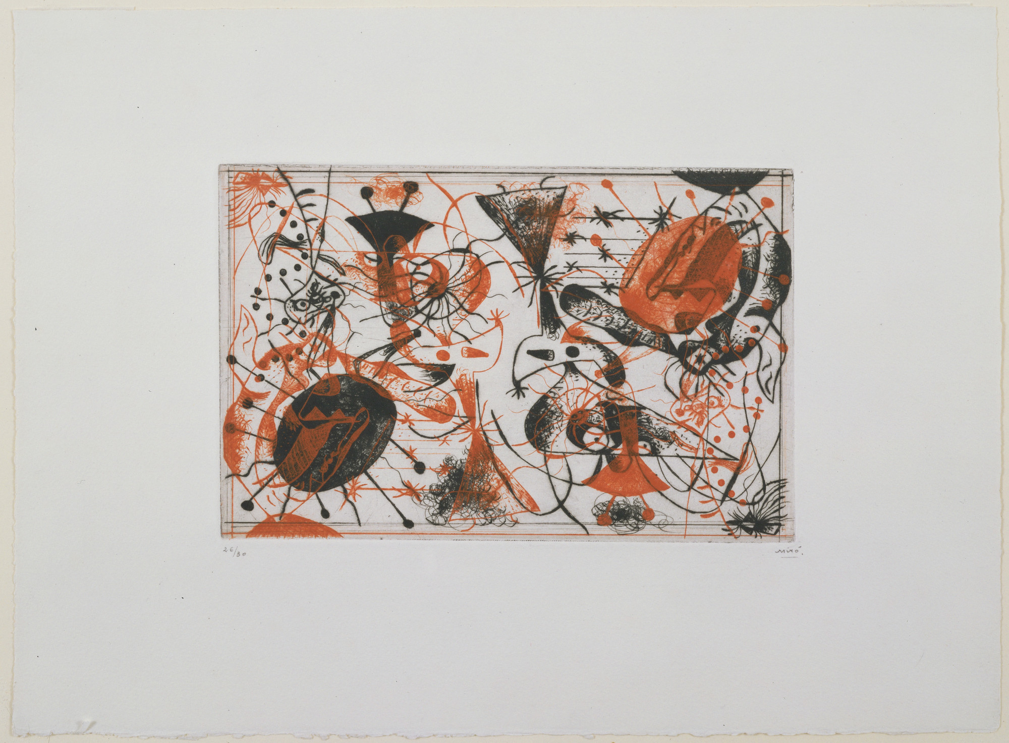 Joan Miró. Plate 8 from Black and Red Series (Série noire et rouge). 1938. Etching, 6 5/8 × 10 1/8ʺ (16.8 × 26.8 cm). Purchased with the Frances Keech Fund and funds given by Agnes Gund and Daniel Shapiro, Gilbert Kaplan, Jeanne C. Thayer, Reba and Dave Williams, Ann and Lee Fensterstock, Linda Barth Goldstein, Walter Bareiss, Mrs. Melville Wakeman Hall, Emily Rauh Pulitzer, and Mr. and Mrs. Herbert D. Schimmel. © 2016 Successió Miró / Artists Rights Society (ARS), New York / ADAGP, Paris