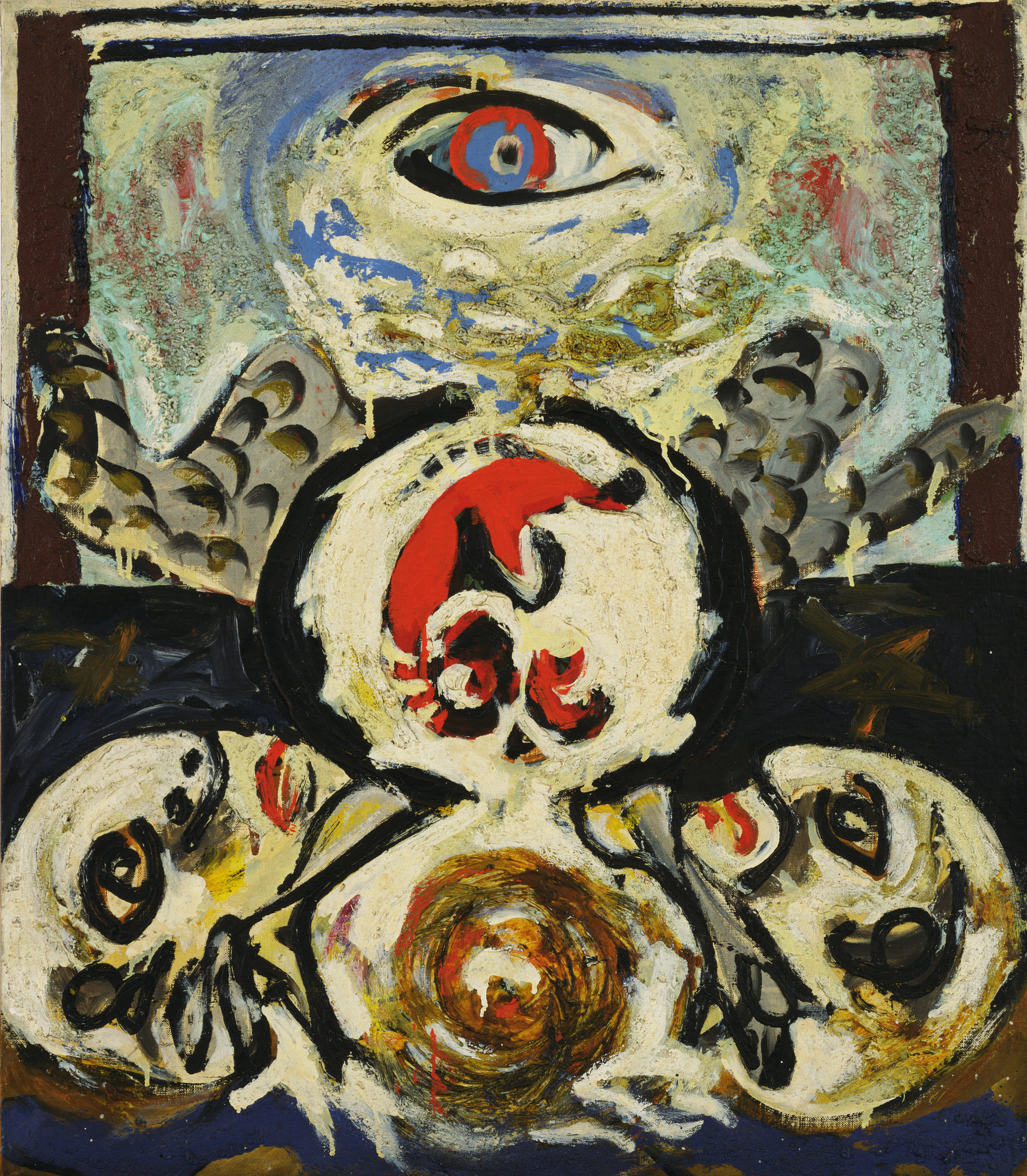 Jackson Pollock. Bird. c. 1938–41. Oil and sand on canvas, 27 3/4 × 24 1/4ʺ (70.5 × 61.6 cm). Gift of Lee Krasner in memory of Jackson Pollock. © 2016 Pollock-Krasner Foundation / Artists Rights Society (ARS), New York