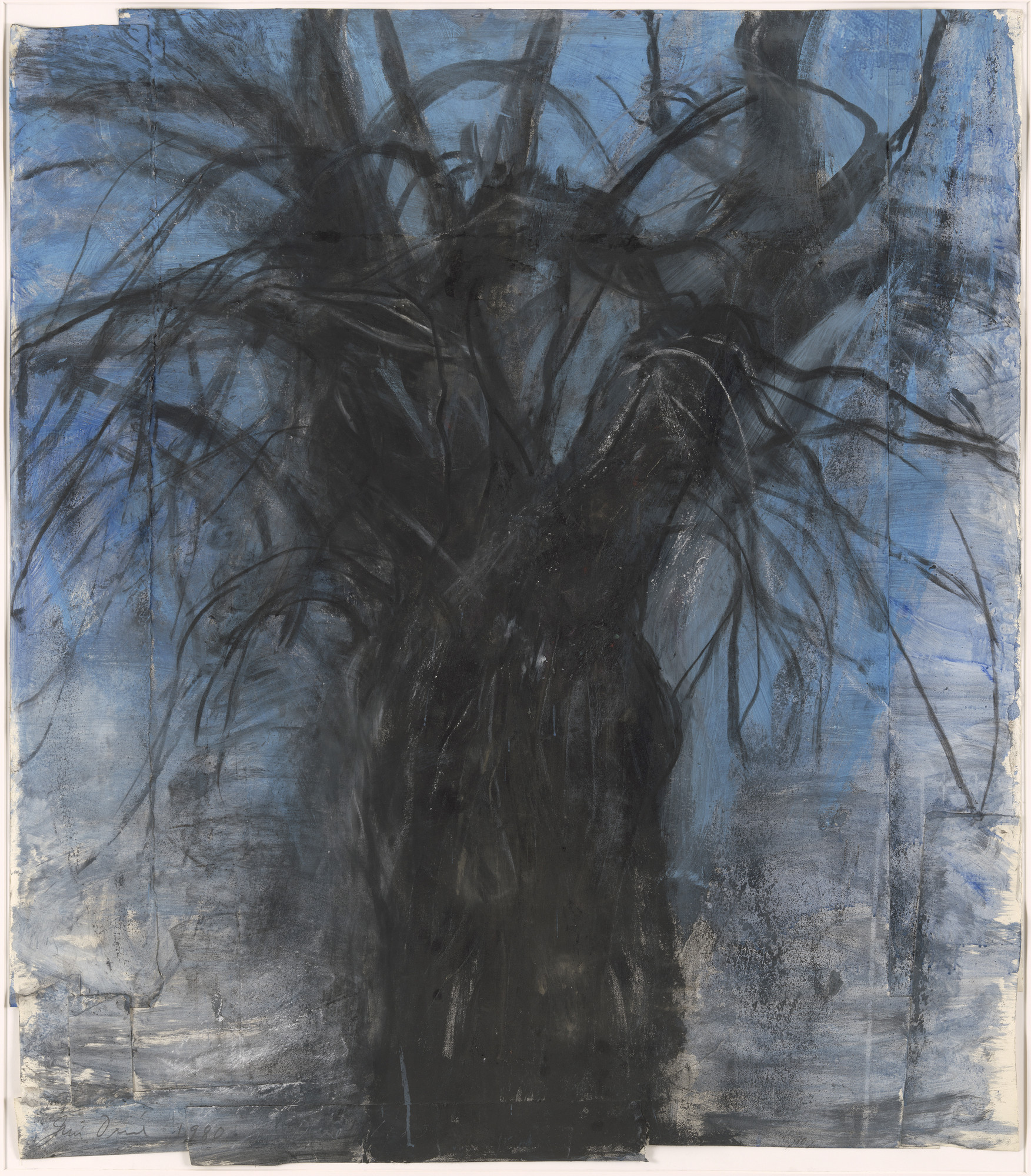 Jim Dine. A Tree that Shatters the Dancing. 1980. Synthetic polymer paint, synthetic polymer spray paint, charcoal and pastel on cut-and-pasted paper. 56 1⁄8 × 5 1/8ʺ (143.4 × 127.5 cm) (irreg). Gift of Nancy and Jim Dine in memory of Myron Orlofsky. © 2016 Jim Dine / Artists Rights Society (ARS), New York. Photo: Jonathan Muzikar