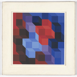 Victor Vasarely. Study for *Deuton RB*. 1966. Gouache on paper, 9 7/8 × 9 7/8ʺ (25.1 × 25.1 cm). Gift of Mrs. Lily Auchincloss. © 2016 Artists Rights Society (ARS), New York / ADAGP, Paris