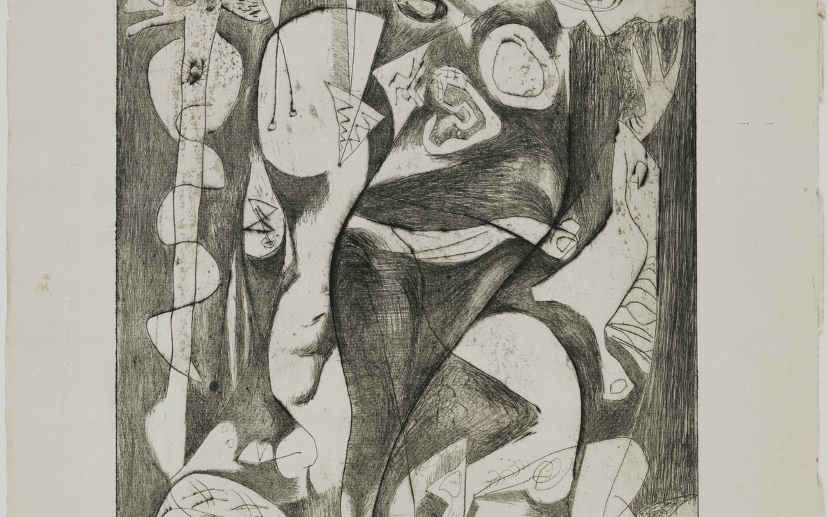 Jackson Pollock. *Untitled (8)*, state I of II. 1944–1945. Engraving and drypoint, plate: 11 13/16 × 9ʺ (30 × 22.8 cm); sheet: 18 13/16 × 12 1/4ʺ (47.8 × 31.1 cm). Publisher: unpublished. Printer: the artist at Atelier 17, New York. Edition: unique trial proof before the 1967 posthumous proofs. Gift of Lee Krasner Pollock. © 2016 Pollock-Krasner Foundation / Artists Rights Society (ARS), New York