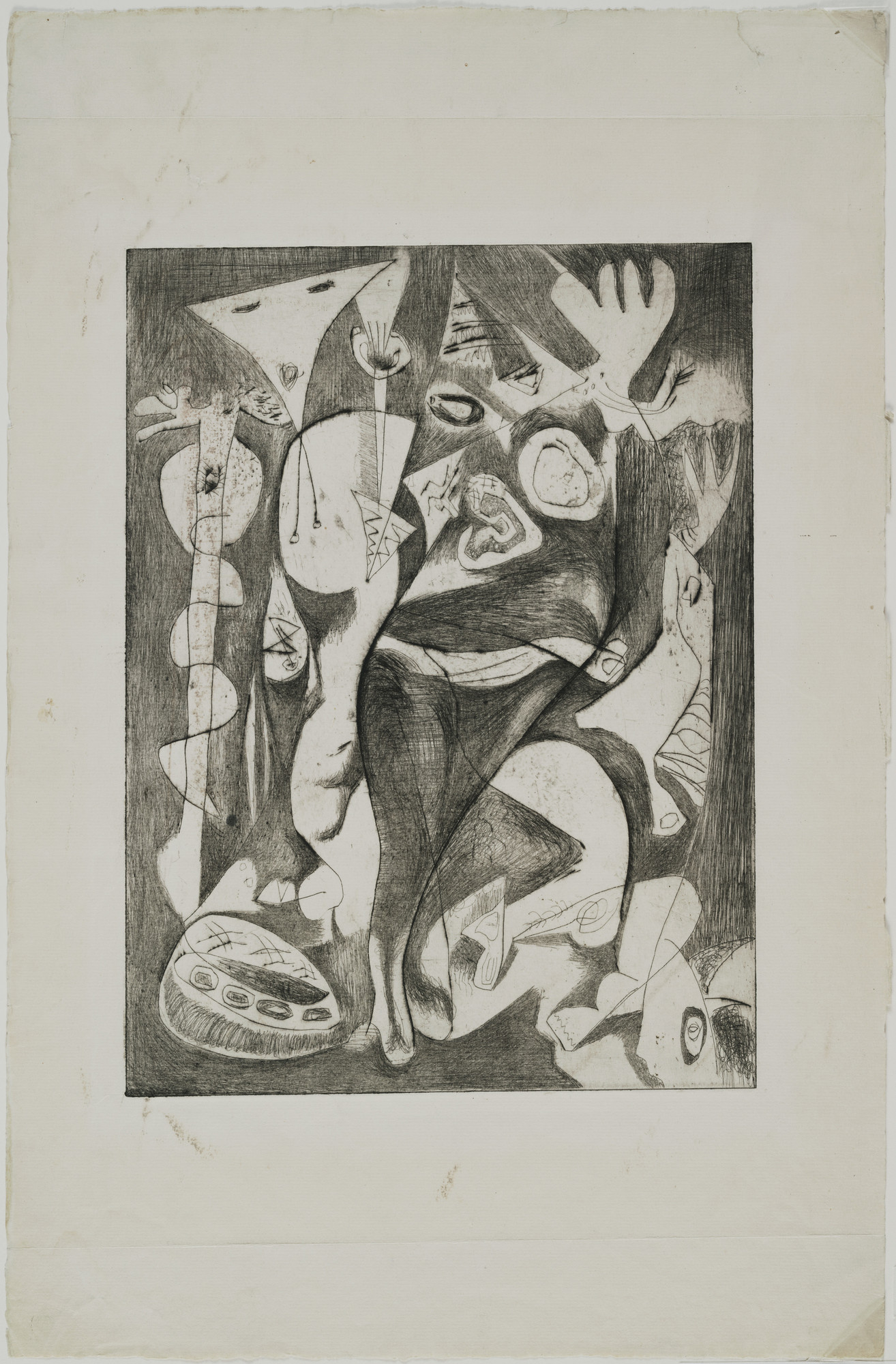 Jackson Pollock. Untitled (8), state I of II. 1944–1945. Engraving and drypoint, plate: 11 13/16 × 9ʺ (30 × 22.8 cm); sheet: 18 13/16 × 12 1/4ʺ (47.8 × 31.1 cm). Publisher: unpublished. Printer: the artist at Atelier 17, New York. Edition: unique trial proof before the 1967 posthumous proofs. Gift of Lee Krasner Pollock. © 2016 Pollock-Krasner Foundation / Artists Rights Society (ARS), New York