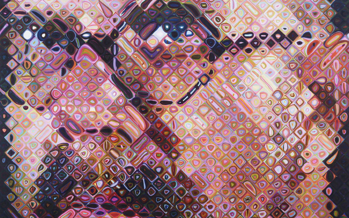 Chuck Close. *Self-Portrait.* 1997. Oil on canvas, 8ʹ 6ʺ × 7ʹ (259.1 × 213.4 cm). Gift of Agnes Gund, Jo Carole and Ronald S. Lauder, Donald L. Bryant, Jr., Leon Black, Michael and Judy Ovitz, Anna Marie and Robert F. Shapiro, Leila and Melville Straus, Doris and Donald Fisher, and purchase. © 2016 Chuck Close. Photo: Paige Knight