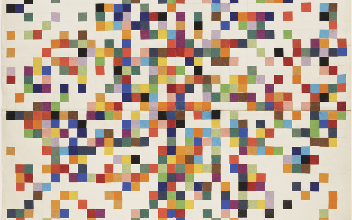 Ellsworth Kelly. *Spectrum Colors Arranged by Chance II.* 1951. Cut-and-pasted color-coated paper and pencil on four sheets of paper, 38 1/4 × 38 1/4″ (97.2 × 97.2 cm). Purchased with funds provided by Jo Carole and Ronald S. Lauder. © 2016 Ellsworth Kelly. Photo: Paige Knight