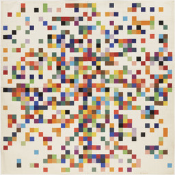 Ellsworth Kelly. Spectrum Colors Arranged by Chance II. 1951. Cut-and-pasted color-coated paper and pencil on four sheets of paper, 38 1/4 × 38 1/4″ (97.2 × 97.2 cm). Purchased with funds provided by Jo Carole and Ronald S. Lauder. © 2016 Ellsworth Kelly. Photo: Paige Knight