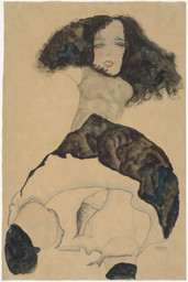 Egon Schiele. *Girl with Black Hair (Mädchen mit schwarzem Haar).* 1911. Gouache, watercolor, and pencil on paper, 22 3/8 × 15 7/8″ (56.8 × 40.3 cm). Gift of the Galerie St. Etienne, New York, in memory of Dr. Otto Kallir; promised gift of Jo Carole and Ronald S. Lauder; and purchase. Photo: John Wronn