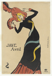 Henri de Toulouse-Lautrec. *Jane Avril.* 1899. Lithograph, composition: 22 1/16 × 14 1/16″ (56 × 35.7 cm); sheet: 22 1/16 × 15″ (56 × 38.1 cm). Publisher: Jane Avril, Paris. Printer: Henri Stern, Paris. Edition: 25. Gift of Abby Aldrich Rockefeller