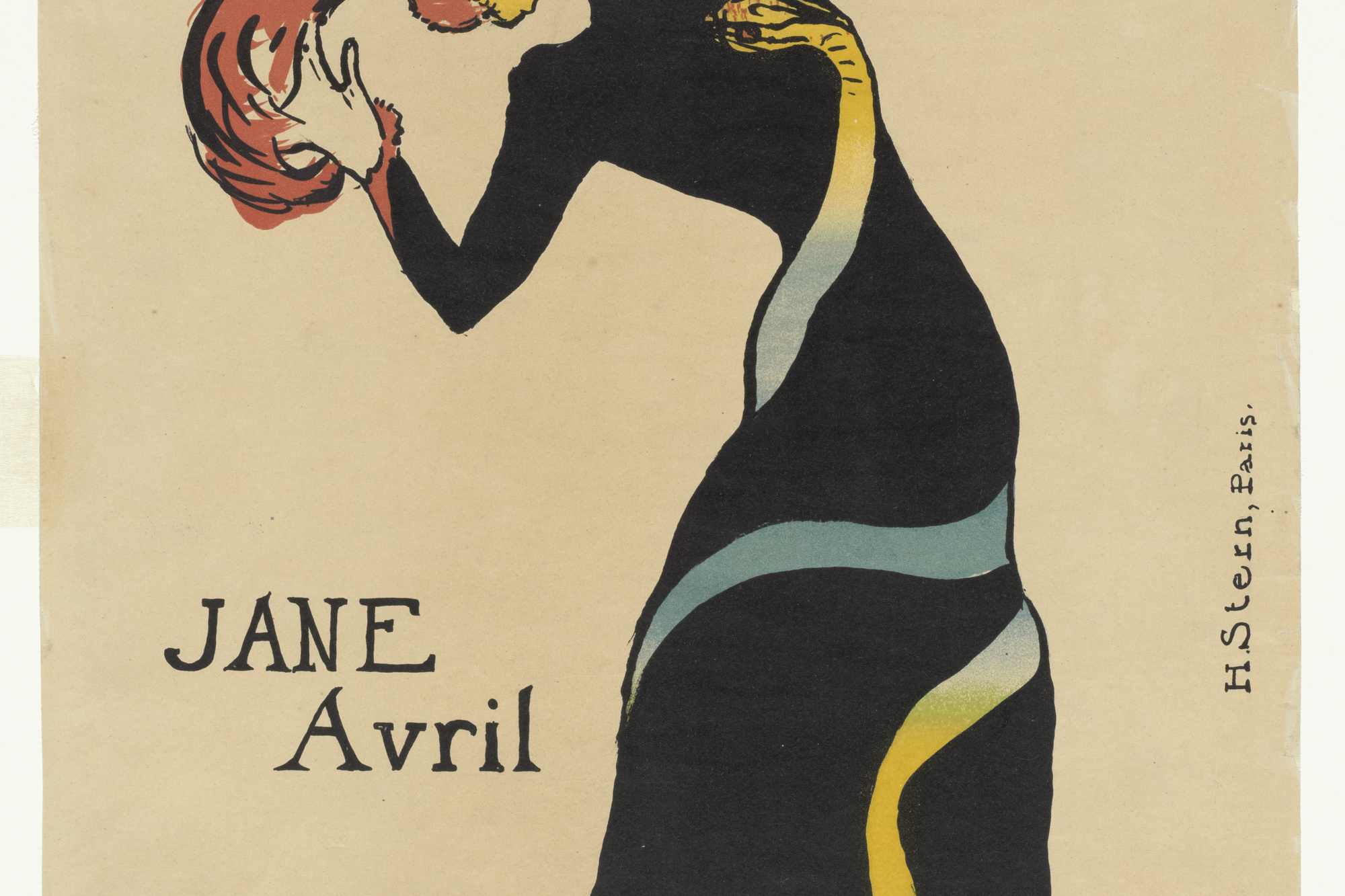 Henri de Toulouse-Lautrec. Jane Avril. 1899. Lithograph, composition: 22 1/16 × 14 1/16″ (56 × 35.7 cm); sheet: 22 1/16 × 15″ (56 × 38.1 cm). Publisher: Jane Avril, Paris. Printer: Henri Stern, Paris. Edition: 25. Gift of Abby Aldrich Rockefeller