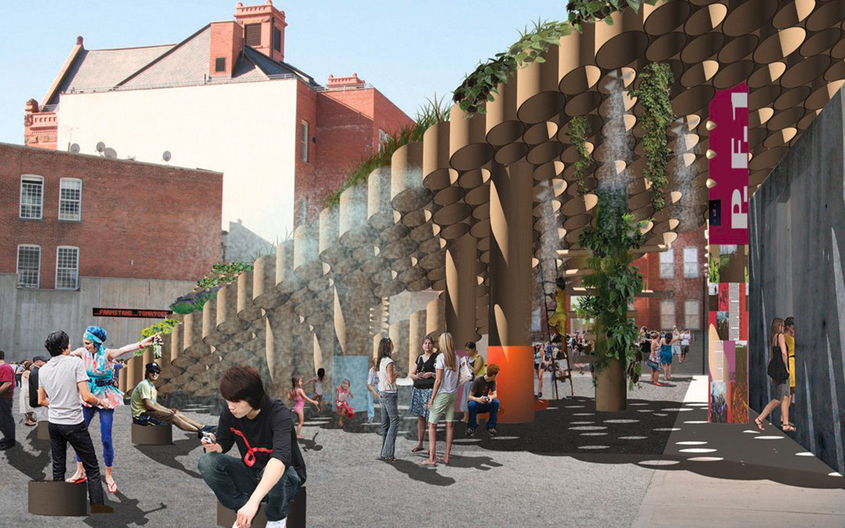 Amale Andraos and Dan Wood, Work Architecture Company New York. P.F.1 (Public Farm 1). 2008. Young Architects Project, MoMA PS1, New York, winner. Rendering courtesy of Work Architecture Company. © All rights reserved