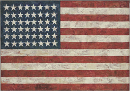 Jasper Johns. Flag. 1954–55 (dated on reverse 1954). Encaustic, oil, and collage on fabric mounted on plywood, three panels, 42 1/4 × 60 5/8″ (107.3 × 153.8 cm). Gift of Philip Johnson in honor of Alfred H. Barr, Jr. © 2016 Jasper Johns / Licensed by VAGA, New York, NY