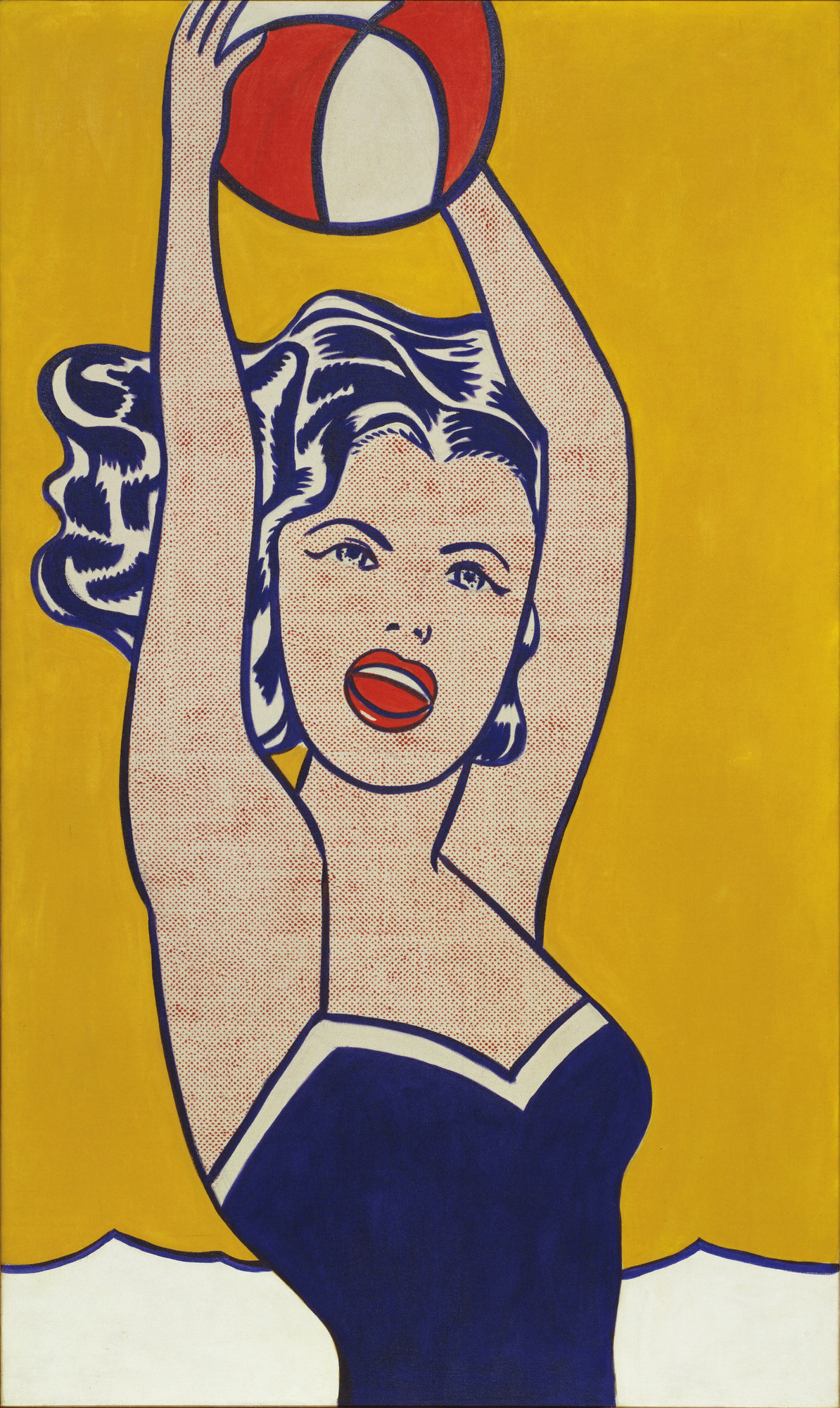 Roy Lichtenstein. Girl with Ball. 1961. Oil on canvas, 60 1⁄4 × 36 1/4″ (153 × 91.9 cm). Gift of Philip Johnson