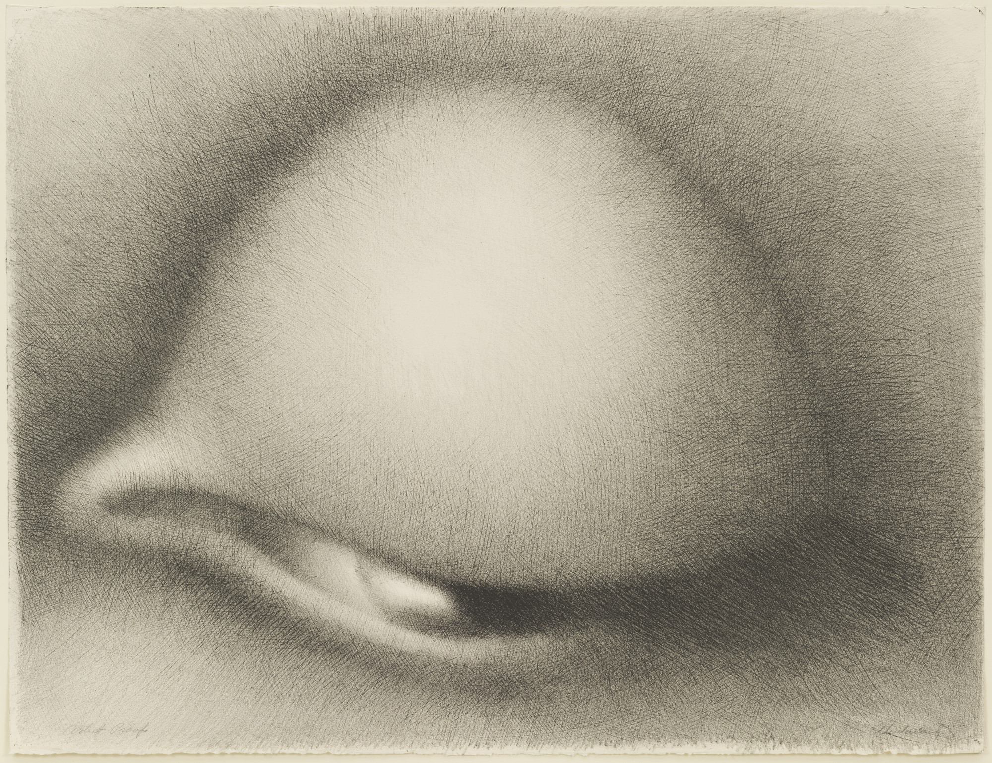 Rodolfo Abularach. Enigmatic Eye I (Ojo Enigmatico I). 1969. Lithograph, composition 22 5/8 × 29 3/8″ (57.4 × 74.6 cm); sheet 22 5/8 × 29 3/8″ (57.4 × 74.6 cm). Publisher: the artist, New York. Printer: Atelier Mourlot, Ltd., New York. Edition: 100. Inter-American Fund. © 2016 Rodolfo Abularach