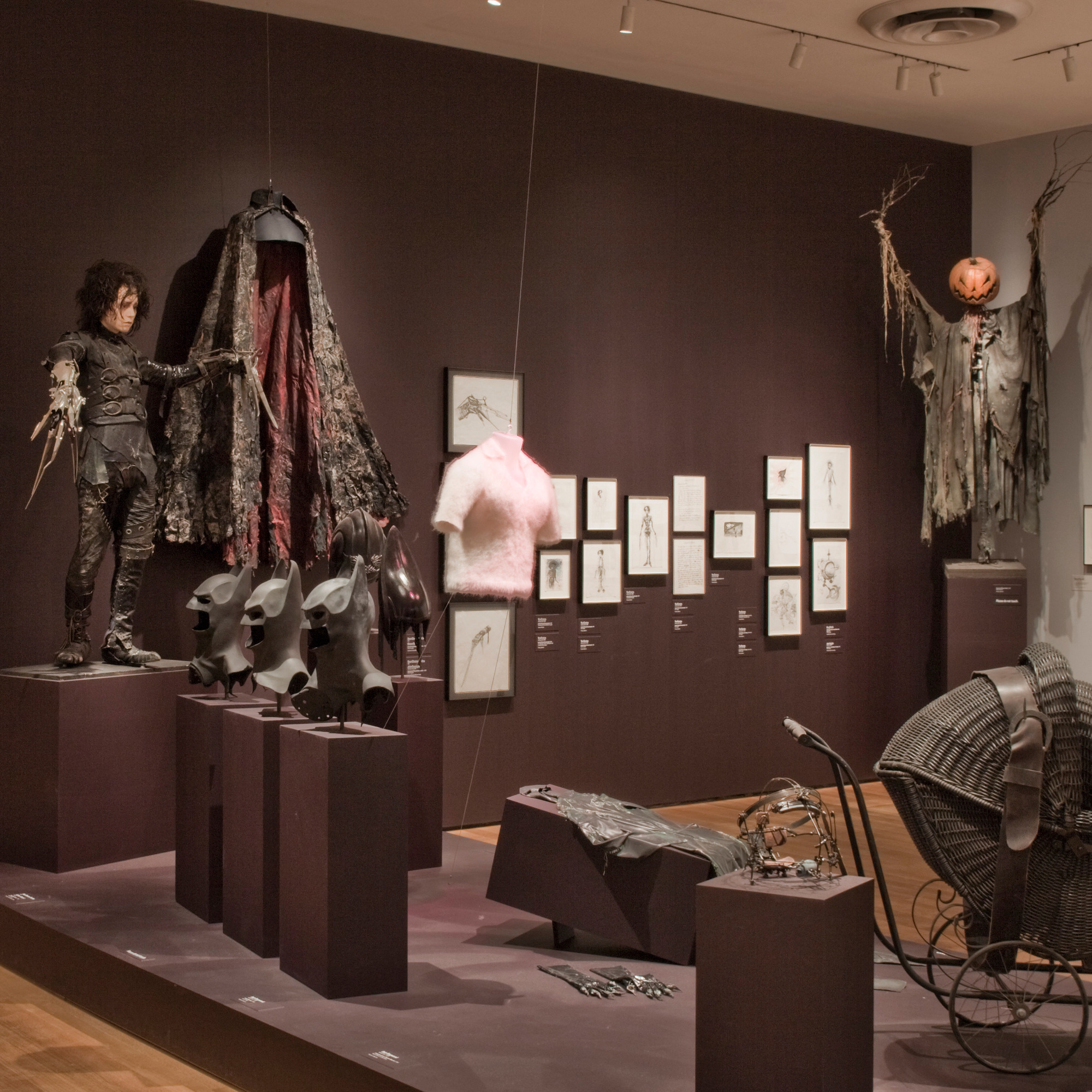 Installation view of Tim Burton at The Museum of Modern Art, New York. Photo: Thomas Griesel
