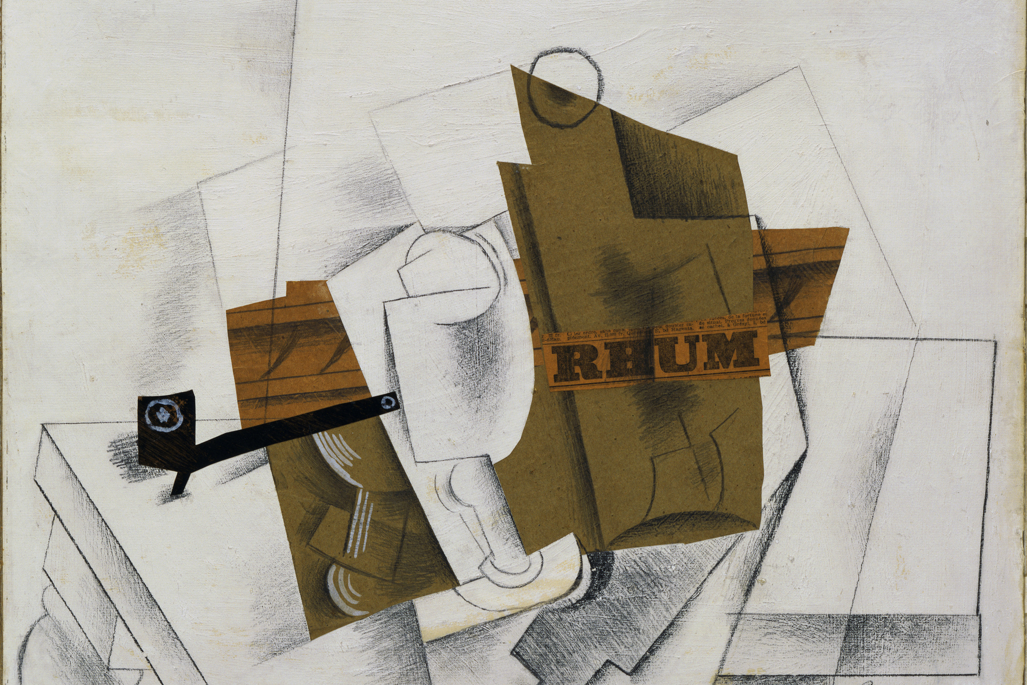 Pablo Picasso. Pipe, Glass, Bottle of Rum. March 1914. Cut-and-pasted colored paper, printed paper, and painted paper, pencil, and gouache on prepared board, 15 3/4 × 20 3/4″ (40 × 52.7 cm). Gift of Mr. and Mrs. Daniel Saidenberg. © 2008 Estate of Pablo Picasso / Artists Rights Society (ARS), New York