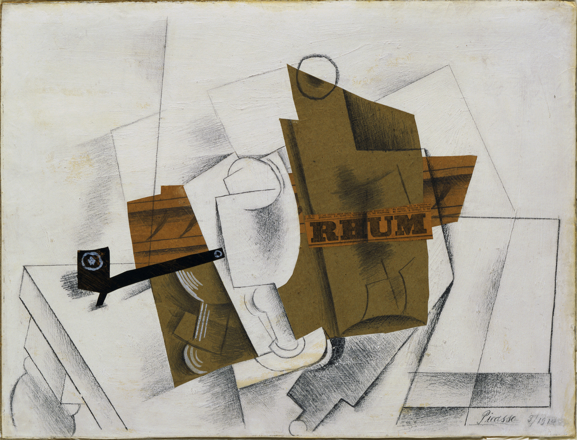 Pablo Picasso. Pipe, Glass, Bottle of Rum. March 1914. Cut-and-pasted colored paper, printed paper, and painted paper, pencil, and gouache on prepared board, 15 3⁄4 × 20 3/4″ (40 × 52.7 cm). Gift of Mr. and Mrs. Daniel Saidenberg. © 2008 Estate of Pablo Picasso / Artists Rights Society (ARS), New York