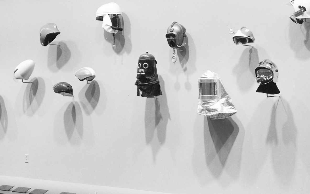 Installation view of *Modern Masks and Helmets* at The Museum of Modern Art, New York. Photo: Katherine Keller
