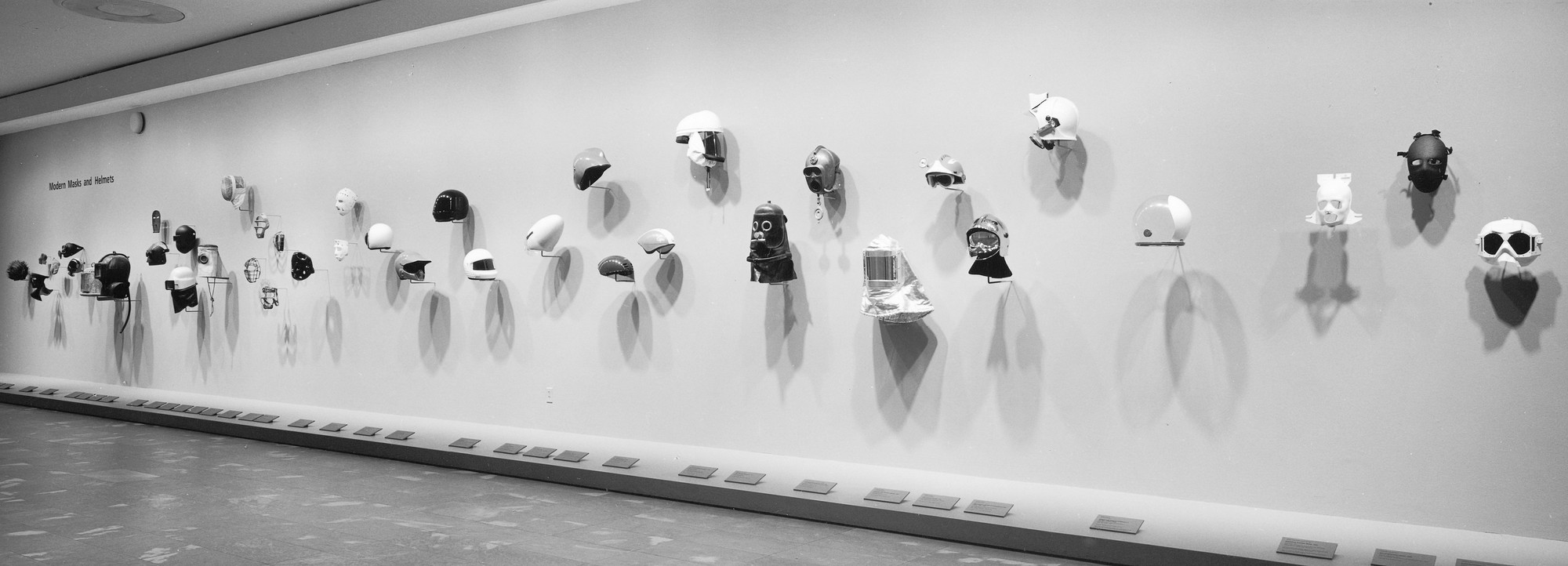 Installation view of Modern Masks and Helmets at The Museum of Modern Art, New York. Photo: Katherine Keller