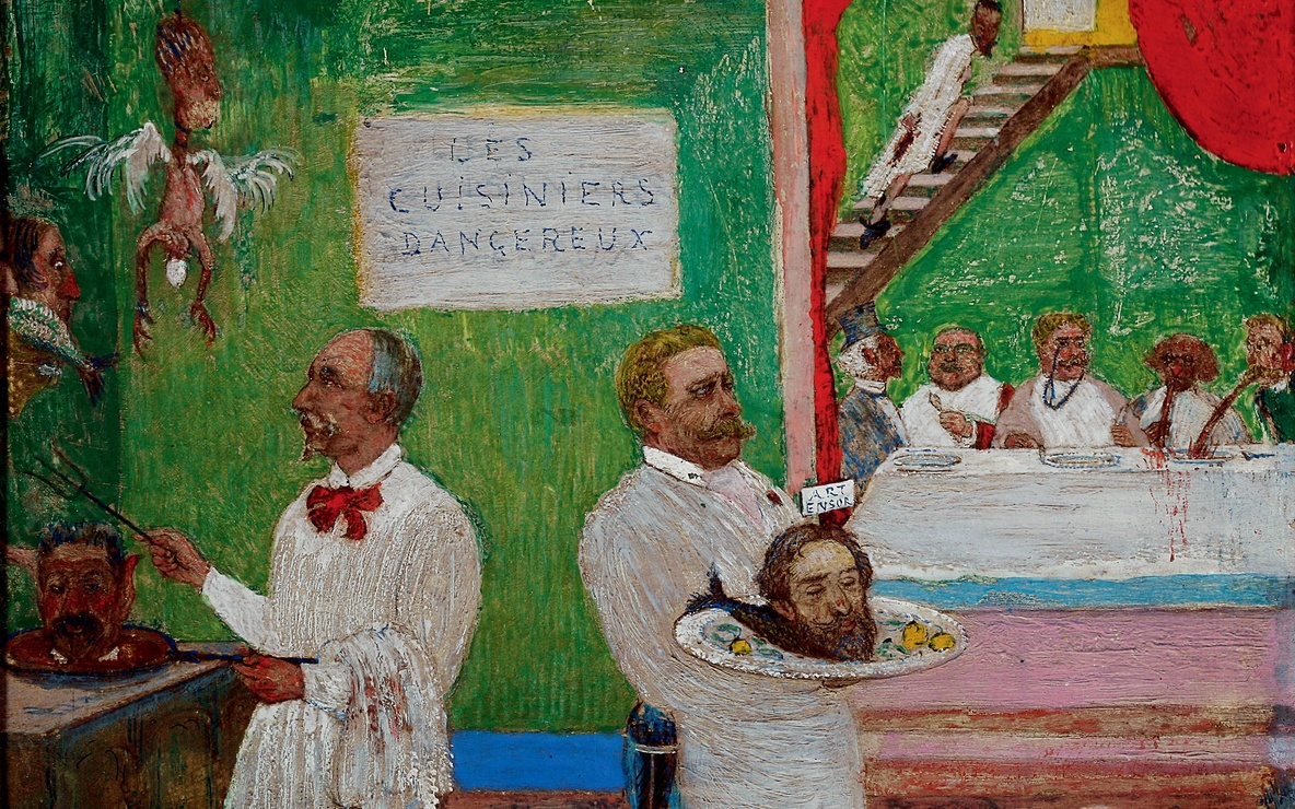 James Ensor (Belgian, 1860–1949). *The Dangerous Cooks.* 1896. Pencil, gouache, and oil on board, 7 7/8 × 9 13/16″. Private collection. © 2009 Artists Rights Society (ARS), New York / SABAM, Brussels