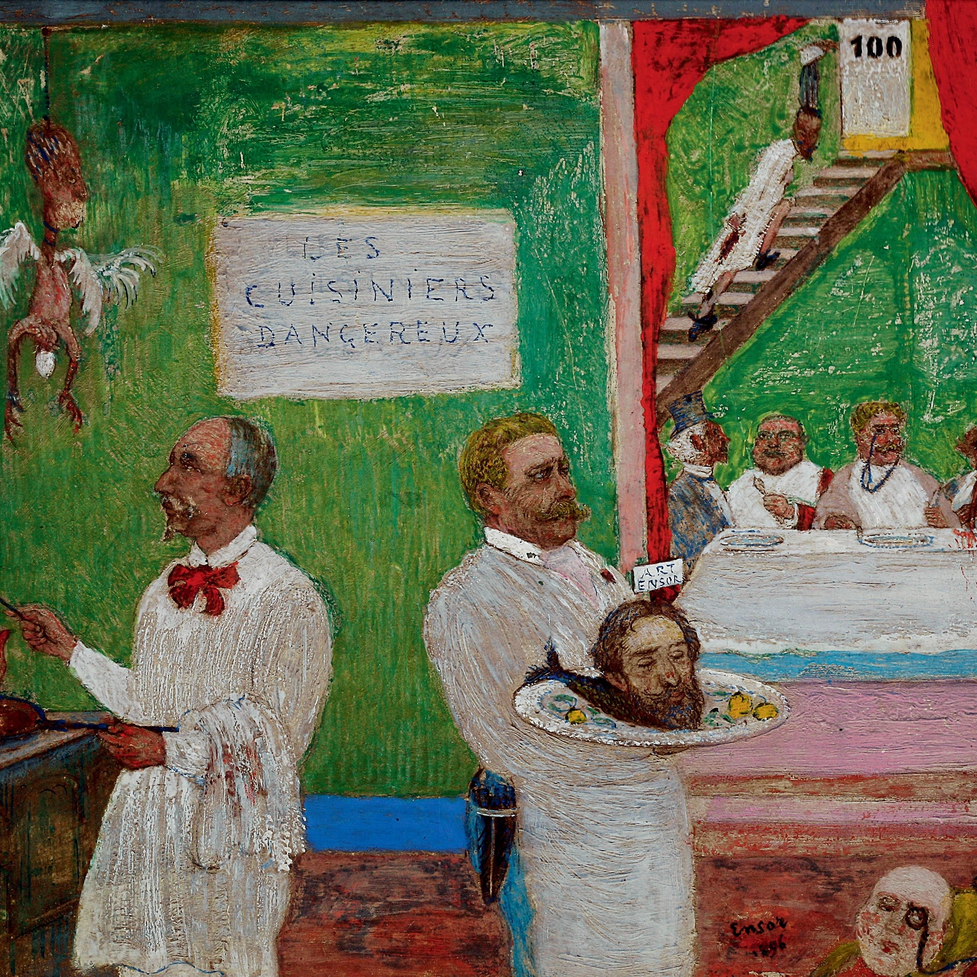 James Ensor (Belgian, 1860–1949). The Dangerous Cooks. 1896. Pencil, gouache, and oil on board, 7 7/8 × 9 13/16″. Private collection. © 2009 Artists Rights Society (ARS), New York / SABAM, Brussels