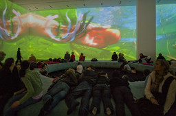 Pipilotti Rist. *Pour Your Body Out (7354 Cubic Meters).* 2008. Multichannel video projection (color, sound), projector enclosures, circular seating element, carpet. Installation view at The Museum of Modern Art, 2008. Photo: Thomas Griesel