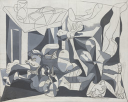 Pablo Picasso. The Charnel House. Paris, 1944–45. Oil and charcoal on canvas, 6′ 6 5/8″ × 8′ 2 1/2″ (199.8 × 250.1 cm). Mrs. Sam A. Lewisohn Bequest (by exchange), and Mrs. Marya Bernard Fund in memory of her husband Dr. Bernard Bernard, and anonymous funds. © 2016 Estate of Pablo Picasso / Artists Rights Society (ARS), New York