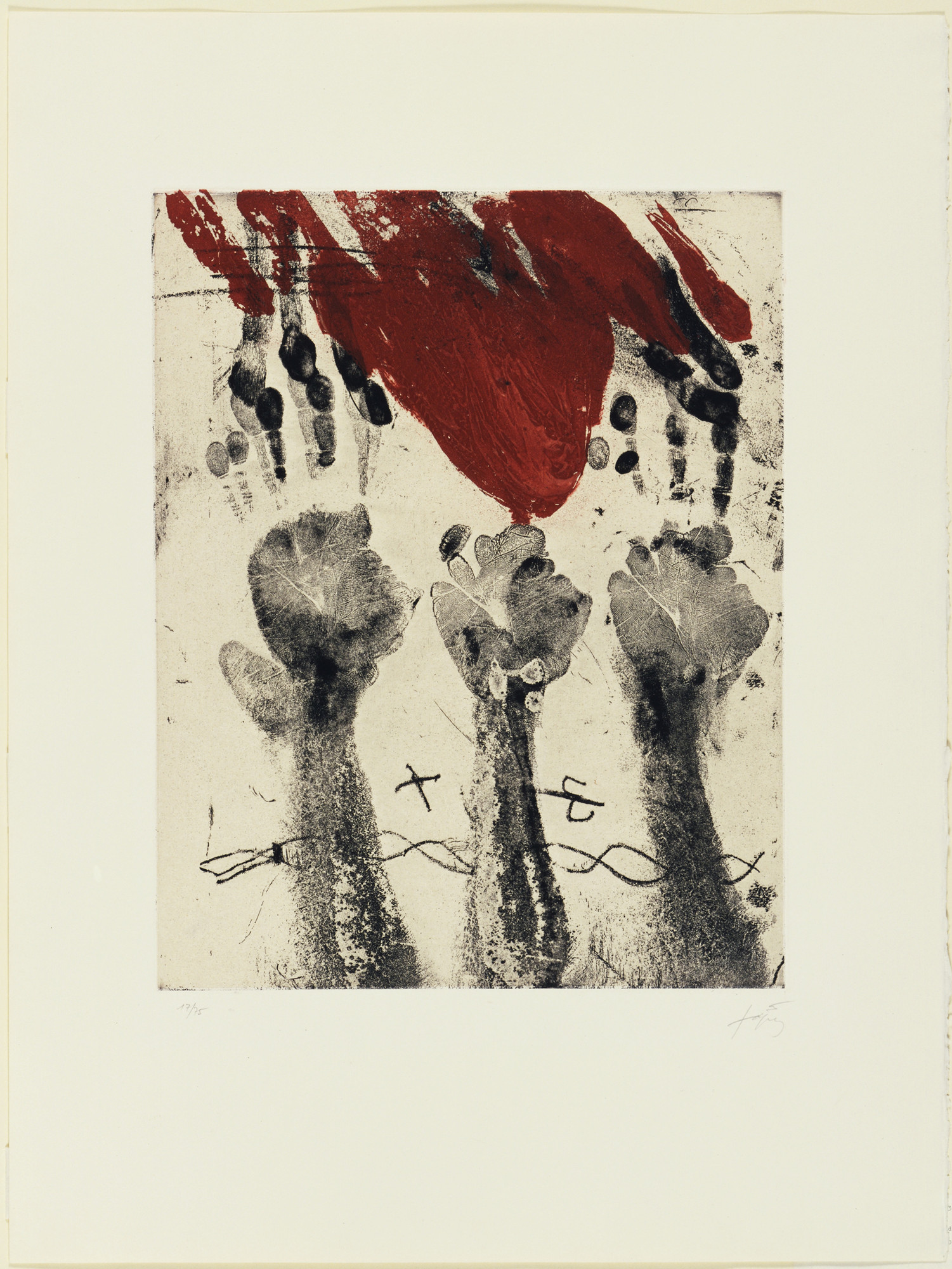 Antoni Tàpies. The Hands (Les Mains). 1969. Etching and aquatint, plate: 19 9/16 × 15 1/2″ (49.7 × 39.4cm); sheet: 30 1/2 × 23 1/8″ (77.5 × 58.7cm). Donald Karshan Fund. © 2016 Artists Rights Society (ARS), New York / ADAGP, Paris