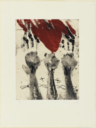 Antoni Tàpies. *The Hands (Les Mains).* 1969. Etching and aquatint, plate: 19 9/16 × 15 1/2″ (49.7 × 39.4cm); sheet: 30 1/2 × 23 1/8″ (77.5 × 58.7cm). Donald Karshan Fund. © 2016 Artists Rights Society (ARS), New York / ADAGP, Paris