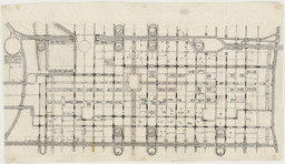 Louis I. Kahn. Traffic Study, project, Philadelphia, Pennsylvania, Plan of proposed traffic-movement pattern. 1952. Ink, graphite, and cut-and-pasted papers on paper, 24 1/2 × 42 3/4″ (62.2 × 108.6 cm). Gift of the architect. © 2016 Estate of Louis I. Kahn