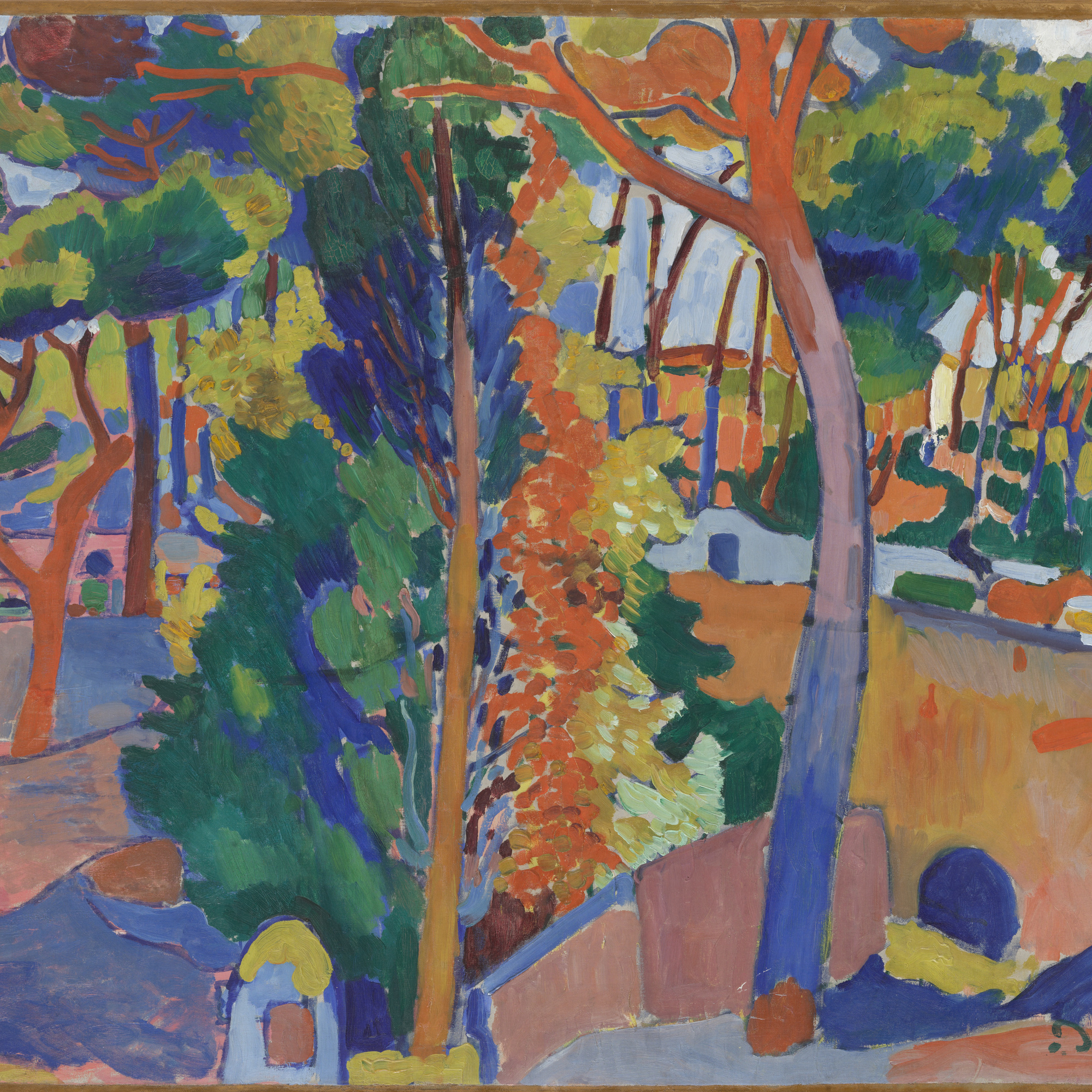 André Derain. Bridge over the Riou. 1906. Oil on canvas, 32 1/2 × 40″ (82.6 × 101.6 cm). The William S. Paley Collection. © 2016 Artists Rights Society (ARS), New York / ADAGP, Paris. Photo: Thomas Griesel