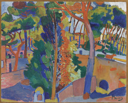 André Derain. *Bridge over the Riou.* 1906. Oil on canvas, 32 1/2 × 40″ (82.6 × 101.6 cm). The William S. Paley Collection. © 2016 Artists Rights Society (ARS), New York / ADAGP, Paris. Photo: Thomas Griesel