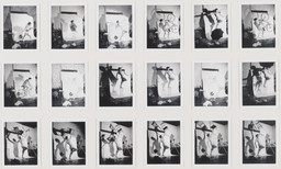 Lucas Samaras. *Auto Polaroid.* 1969–71. Eighteen black-and-white instant prints (Polapan), with hand-applied ink, each 3 3/4 × 2 15/16″ (9.5 × 7.4 cm), overall 14 5/8 × 24″ (37.2 × 61 cm). Gift of Robert and Gayle Greenhill. © 2016 Lucas Samaras
