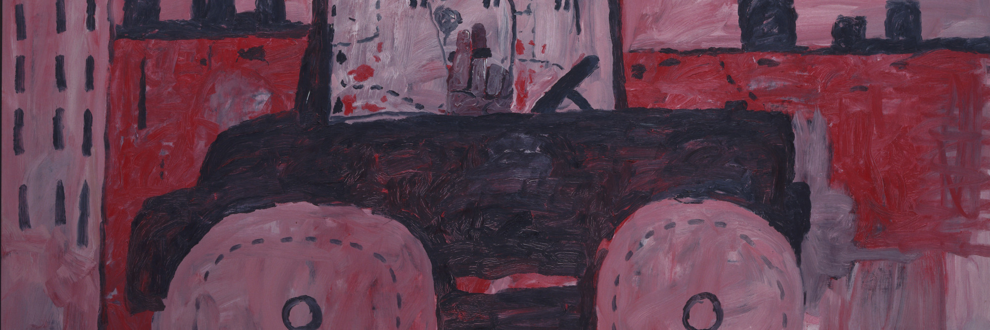 Philip Guston. City Limits. 1969. Oil on canvas, 6′ 5″ × 8′ 7 1/4″ (195.6 × 262.2 cm). Gift of Musa Guston. © 2016 The Estate of Philip Guston