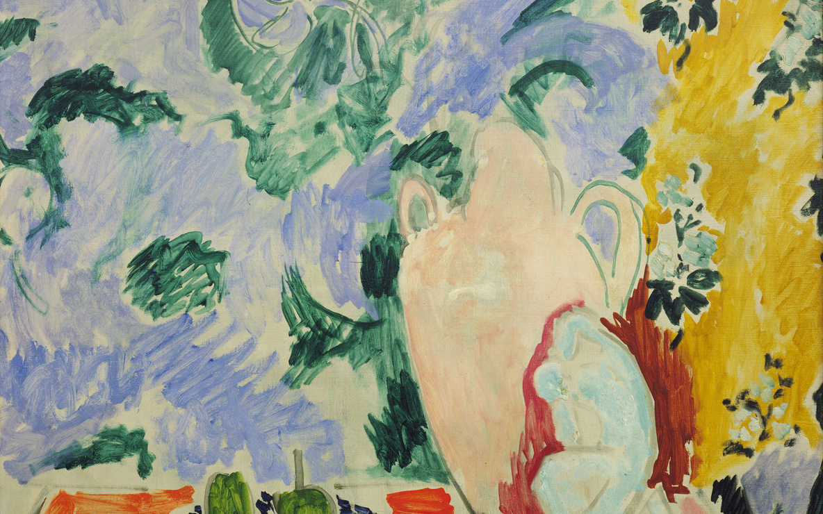 Henri Matisse. *Still Life with Aubergines.* Collioure, summer 1911. Oil on canvas, 45 3/4 × 35 1/8″ (116.2 × 89.2 cm). Louise Reinhardt Smith Bequest. © 2016 Succession H. Matisse / Artists Rights Society (ARS), New York