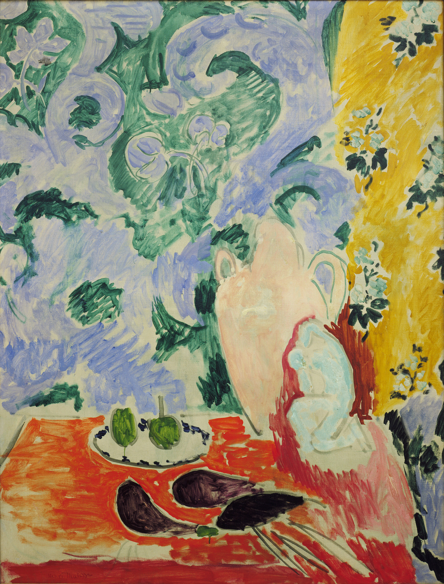 Henri Matisse. Still Life with Aubergines. Collioure, summer 1911. Oil on canvas, 45 3⁄4 × 35 1/8″ (116.2 × 89.2 cm). Louise Reinhardt Smith Bequest. © 2016 Succession H. Matisse / Artists Rights Society (ARS), New York