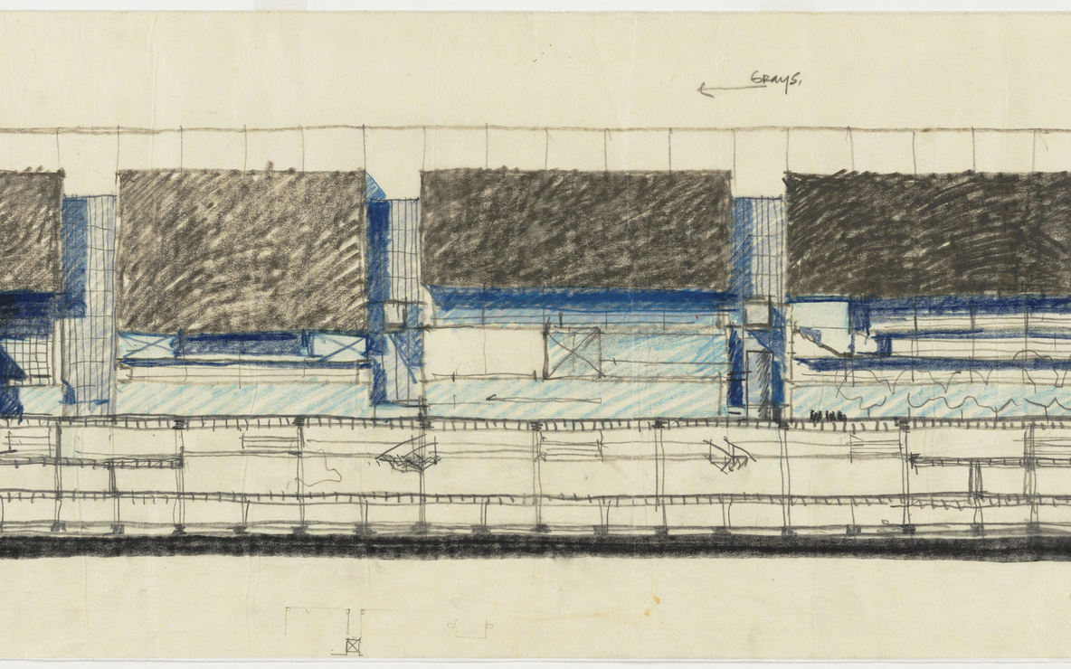 Rafael Viñoly. Tokyo International Forum, 1989–1996, Tokyo, Japan, East elevation of theater structures, sketch. 1989. Architectural Firm: Rafael Viñoly Architects. Crayon and graphite on tracing paper, 12 × 31 3/4″ (30.5 × 80.6 cm). Gift of the architect