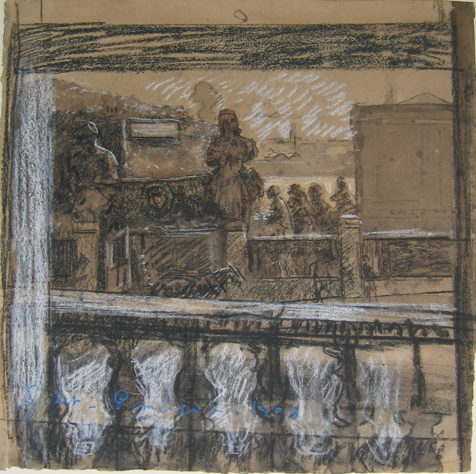 Walter Richard Sickert. Pimlico. 1909. Charcoal, watercolor, and chalk on paper, 21 1⁄2 × 19 1/2ʺ (54.6 × 49.6 cm). The Joan and Lester Avnet Collection. © 2016 Estate of Walter Richard Sickert / Artists Rights Society (ARS), New York / DACS, London