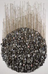 Annette Messager. My Vows. 1988–91. Gelatin silver prints, colored pencil on paper, glass, tape, string, and pushpins. Overall approximately 11′ 8 1/4″ × 6′ 6 3/4″ (356.2 × 200 cm). Gift of the Peter Norton Family Foundation. © 2016 Artists Rights Society (ARS), New York / ADAGP, Paris