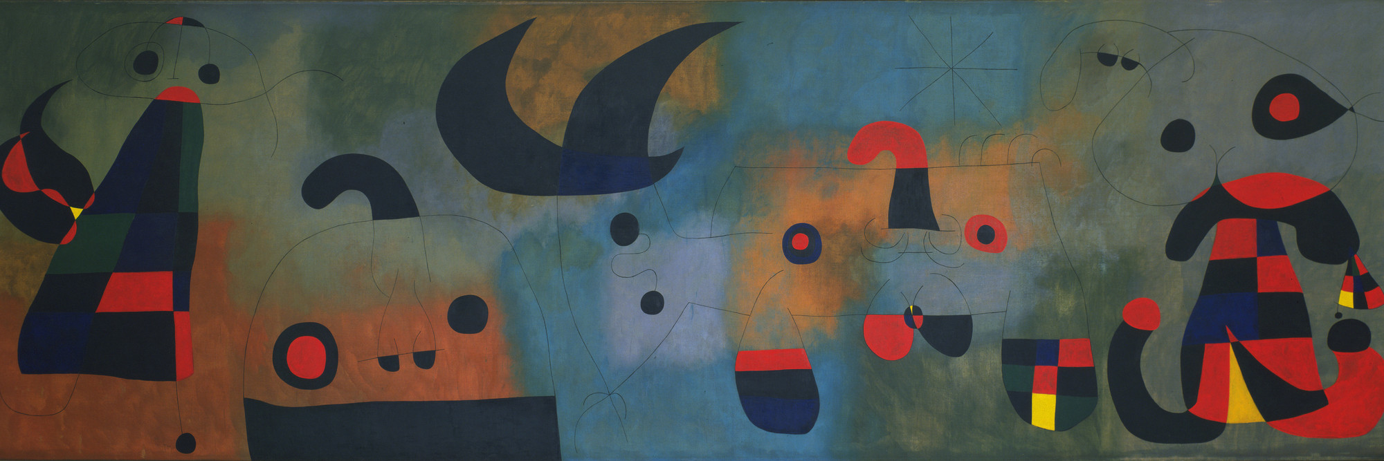 Joan Miró. Mural Painting. Barcelona, October 18, 1950–January 26, 1951. Oil on canvas, 6′ 2 3/4″ × 19′ 5 3/4″ (188.8 × 593.8 cm). Mrs. Simon Guggenheim Fund. © 2016 Successió Miró / Artists Rights Society (ARS), New York / ADAGP, Paris