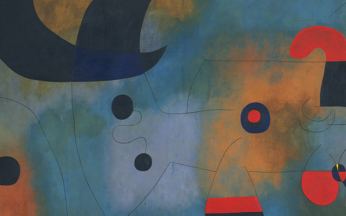 Joan Miró. *Mural Painting.* Barcelona, October 18, 1950–January 26, 1951. Oil on canvas, 6′ 2 3/4″ × 19′ 5 3/4″ (188.8 × 593.8 cm). Mrs. Simon Guggenheim Fund. © 2016 Successió Miró / Artists Rights Society (ARS), New York / ADAGP, Paris