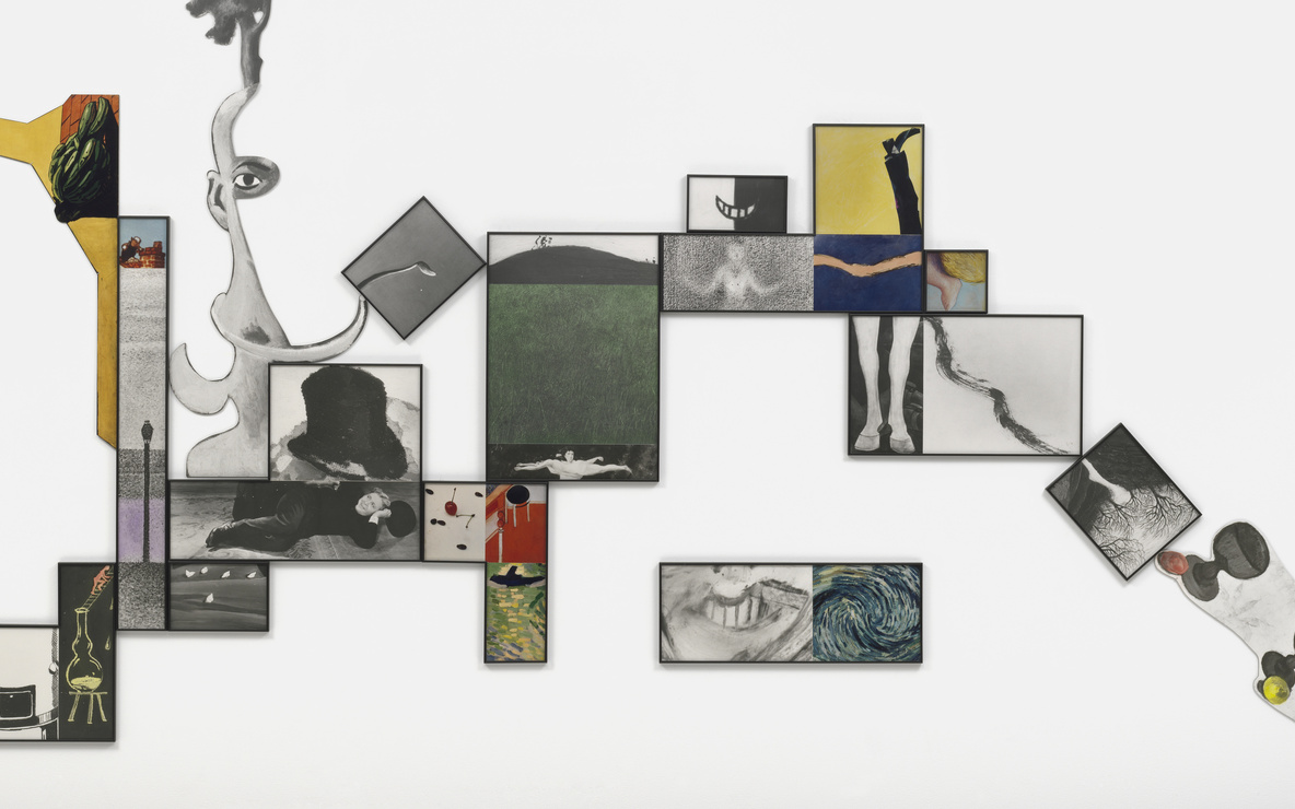 John Baldessari. *e.g., Grass, Water Heater, Mouths, & etc. (for John Graham).* 1994. Gelatin silver prints, color prints, and oil stain. Overall 15ʹ 10ʺ × 8ʹ 2ʺ (482.6 × 249 cm). Gift of Jo Carole and Ronald S. Lauder, The Cowles Charitable Trust Fund, and Jeanne C. Thayer Fund. © 2016 John Baldessari. Photo: Jonathan Muzikar