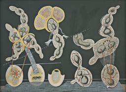Max Ernst. *The Gramineous Bicycle Garnished with Bells the Dappled Fire Damps and the Echinoderms Bending the Spine to Look for Caresses.* c. 1921. Gouache, ink, and pencil on printed paper on paperboard, 29 1/4 × 39 1/4ʺ (74.3 × 99.7 cm). Purchase. © 2016 Artists Rights Society (ARS), New York / ADAGP, Paris