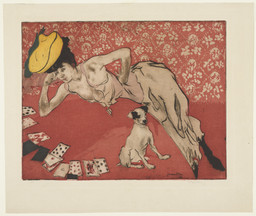 Jacques Villon. The Game of Solitaire (Les Cartes). 1903. Aquatint and etching, plate: 13 11/16 × 17 5/8″ (34.8 × 44.8 cm); sheet: 18 1/16 × 21 5/16″ (45.8 × 54.1 cm). Abby Aldrich Rockefeller Fund. © 2016 Artists Rights Society (ARS), New York / ADAGP, Paris