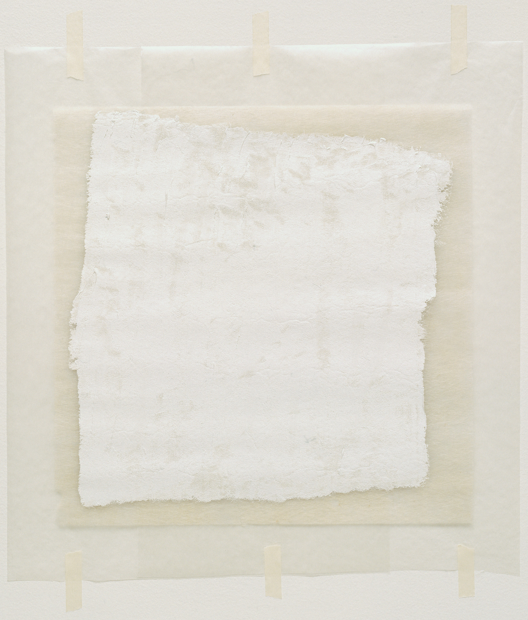 Robert Ryman. Surface Veil. 1970. Oil on fiberglass with waxed paper frame and masking tape, fiberglass sheet 13 × 13″ (33 × 33 cm) overall sheet 18 1⁄2 × 15″ (47 × 38 cm). Gift of the Denise and Andrew Saul Fund and the Scaler Foundation. © 2016 Robert Ryman
