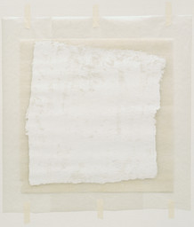 Robert Ryman. *Surface Veil.* 1970. Oil on fiberglass with waxed paper frame and masking tape, fiberglass sheet 13 × 13″ (33 × 33 cm) overall sheet 18 1/2 × 15″ (47 × 38 cm). Gift of the Denise and Andrew Saul Fund and the Scaler Foundation. © 2016 Robert Ryman