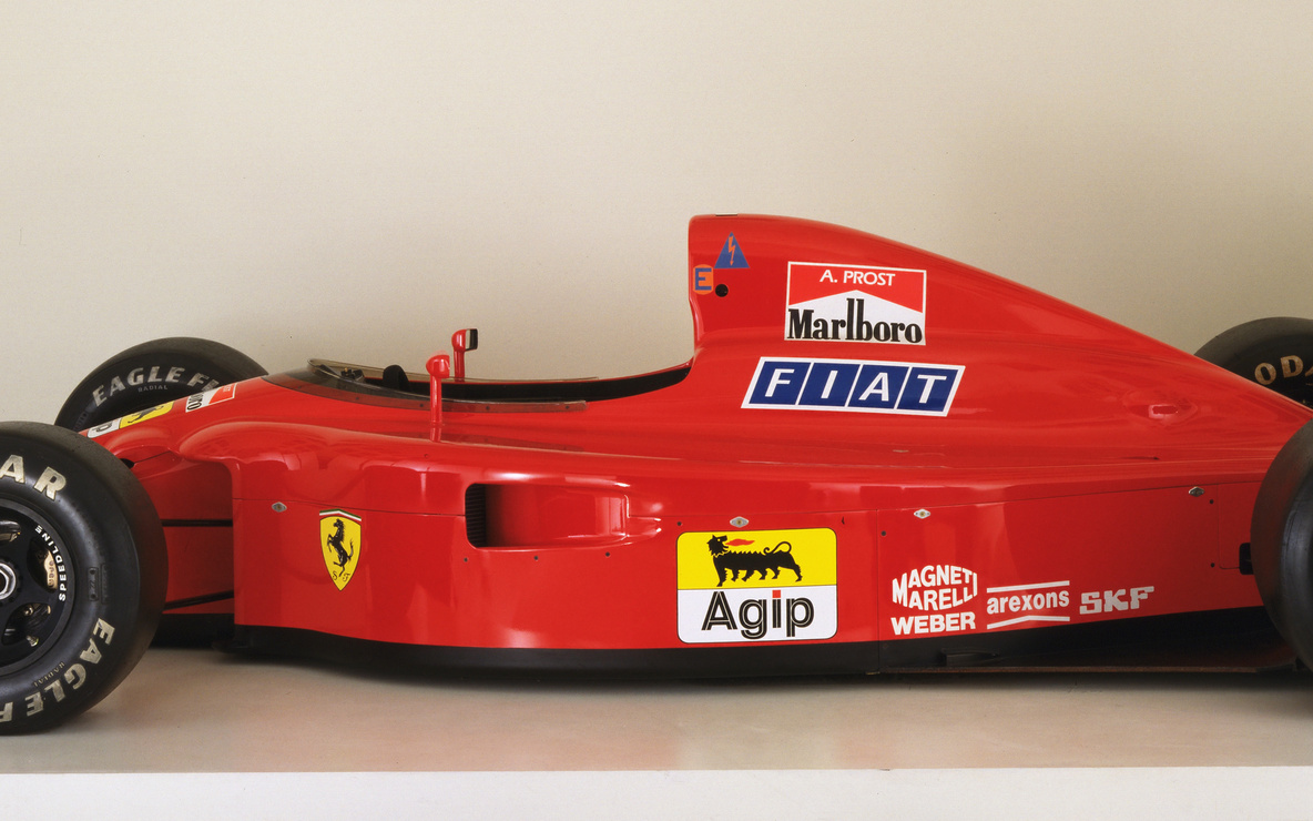 John Barnard, Ferrari S.p.A., Maranello, Italy. Formula 1 Racing Car (641/2). 1990. Manufacturer: Ferrari S.p.A., Maranello, Italy. Honeycomb composite with carbon fibers, Kevlar, and other materials, 40 1/2″ × 7′ × 14′ 6 1/2″ (102.9 × 213.4 × 448.3 cm). Gift of the manufacturer