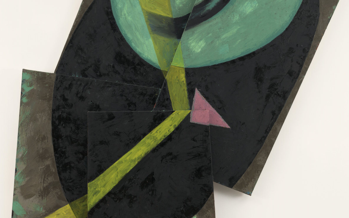 Elizabeth Murray. *Beam.* November 1982. Oil on canvas, four panels, 9ʹ 2ʺ × 6ʹ 3 7/8ʺ × 3 7/8ʺ (279.4 × 193 × 10 cm). Gift of Anna Marie and Robert F. Shapiro in honor of Richard E. Oldenburg. © 2016 Estate of Elizabeth Murray / Artists Rights Society (ARS), New York